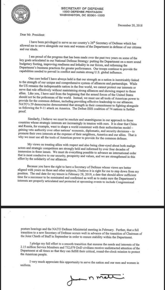 james Mattis letter
